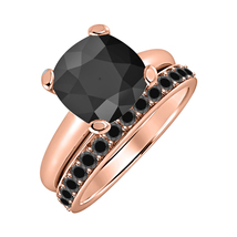 Cushion Cut Black Diamond  14k Rose Gold Over 925 Silver Engagement Bridal Ring  - $84.96