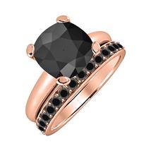 Cushion Cut Black Diamond  14k Rose Gold Over 925 Silver Engagement Bridal Ring  - $72.22