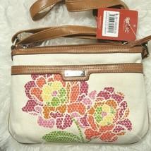 New Relic by fossil Crean Ivory Canvas Floral Multicolor Crossbody Handbag - $24.00