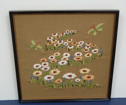 vintage  crewel embroidery finished framed field of flowers with butterf... - £25.90 GBP