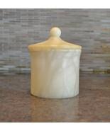 Labrazel Alisa Cream Alabaster Bath Canister Lidded Holder - $135.00
