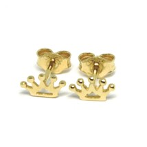 18K YELLOW GOLD EARRINGS, FLAT MINI CROWN, 0.2 INCHES, BUTTERFLY CLOSURE image 2