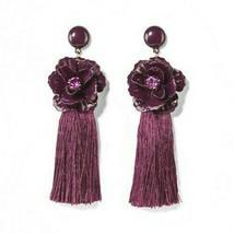 SUGARFIX by BaubleBar Lilac Tassel Drop Earrings with Crystal Flowers image 1