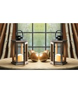2 Rustic Wooden Lodge Lanterns Clear Glass Panels with LED Candle - $43.95
