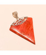 100% Real indonesian RedCoral 925 Sterling Silver Pendant Ethnic Vintage... - $35.62
