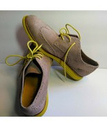COLE HAAN LunarGrand Tan Suede WingTip Oxfords W/ Yellow Soles Laces Sz ... - $44.55