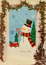 Christmas House Door Cover Snowman with red truck surrounded by holly 30... - $5.50