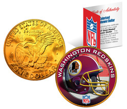 WASHINGTON REDSKINS NFL 24K Gold Plated IKE Dollar US Coin *OFFICIALLY L... - $9.85