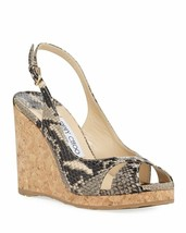 Jimmy Choo Amely Snake-Print Slingback Wedge Sandals Size 36 MSRP: $525.00 - $326.70