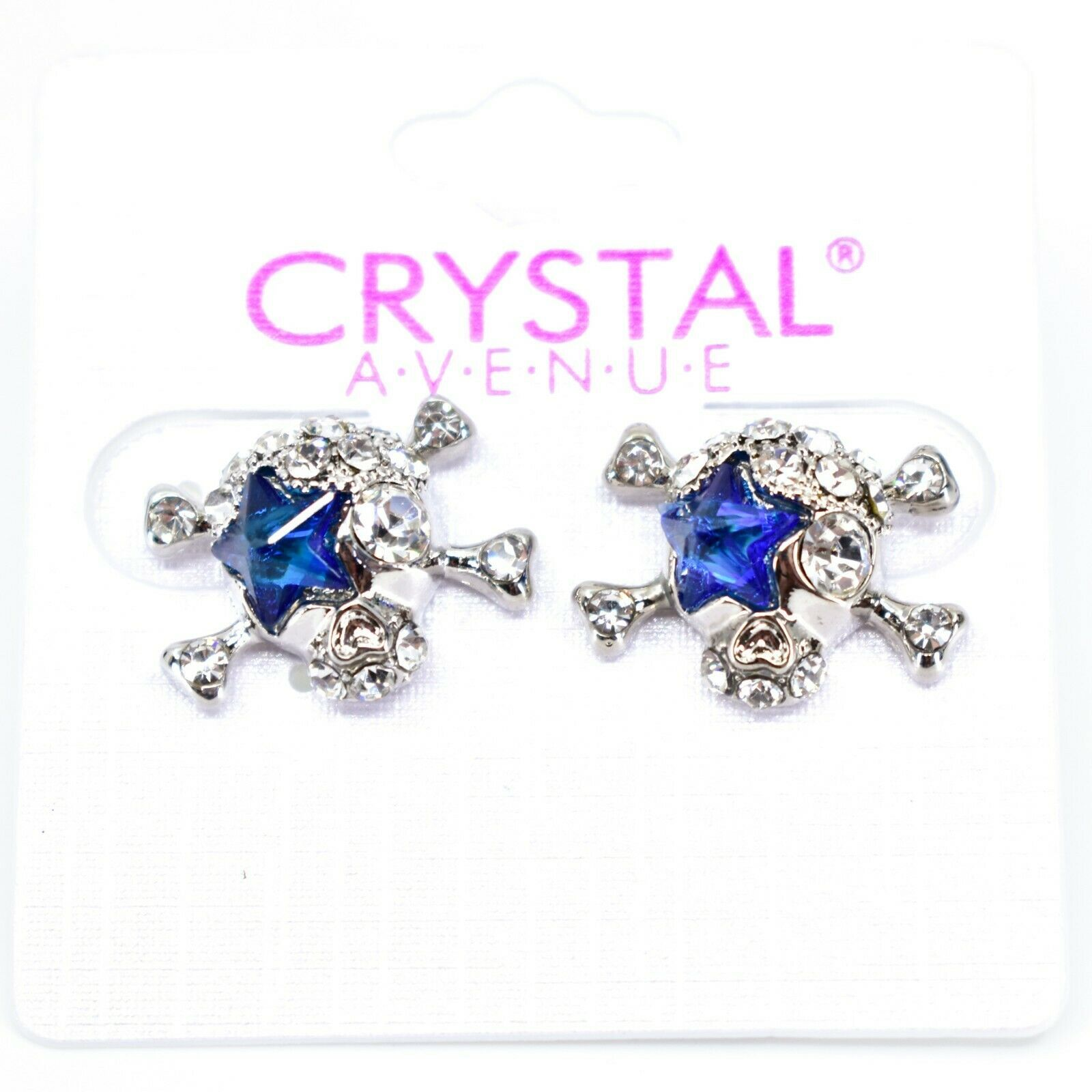 Crystal Avenue Silver Tone Pirate Skull w Blue Star Charm Post Earrings