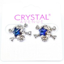 Crystal Avenue Silver Tone Pirate Skull w Blue Star Charm Post Earrings image 1