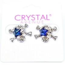 Crystal Avenue Silver Tone Pirate Skull w Blue Star Charm Post Earrings