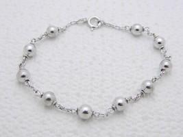 """VTG .925 Sterling Silver Ball Chain Link Bracelet 7.25"""" - $39.60"""