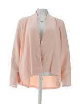 H Halston Long Slv Open Front Jacket Seam Pearl Blush 18W NEW A303200 - $38.59