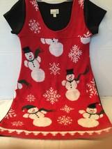 Urban Renewal Dress Size Medium Sweater Snowman Winter Short Sleeve - £9.12 GBP