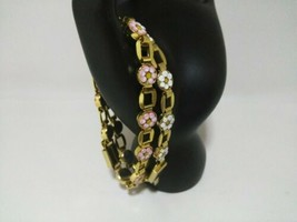 Vintage Gold Tone Micro Mosaic Flower Italian Italy Bracelets Lot of 2  - $34.65