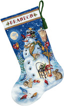 Dimensions Gold Collection Counted Cross Stitch Kit Snowman & Friends Stocking - $35.84