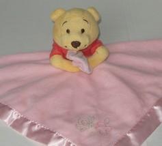 Disney Winnie Pooh Baby Pink Plush Toy Satin Trim Butterly Flower Lovey Security - $26.09