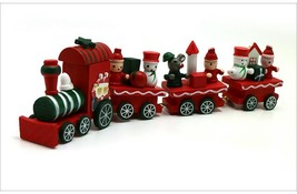Christmas Painted Train Wood Decoration Home Santa Bear Toys Kids Gift D... - ₨930.05 INR