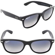 New RAY-BAN New Wayfarer RB 2132 601S78 Matte Blk w/Blue Gray Gradnt Pol... - $161.65