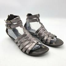 Born Leather Ankle Strap Gladiator Sandals Flats Zipper Bronze Women's 9 M - $29.65
