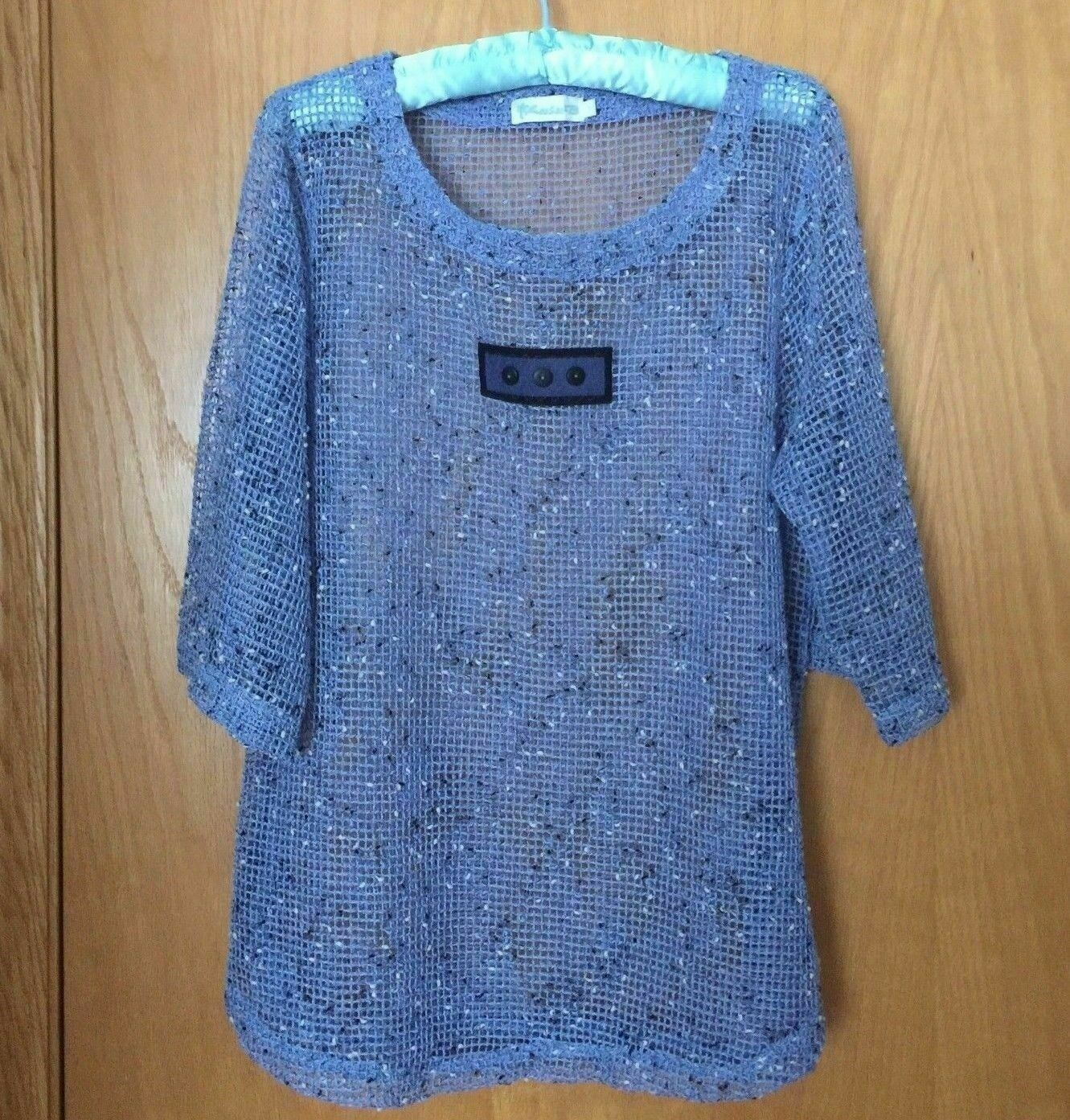 Primary image for LULU B Blue Embellished Sheer Blouse 3/4 Sleeve Mesh Open Weave Top Women Sz S