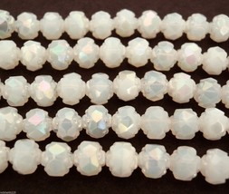 25  5/6 mm Czech Glass Small Rosebud Beads: Luster Iris - Milky White - $2.46