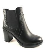 BoNavi 827D41-101 Black Leather Round Toe Slip On Thick Heel Ankle Bootie - $152.10