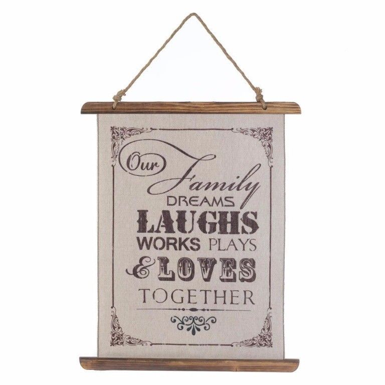 Family That Dreams, Laughs, Works, Plays Loves Together Linen Scroll Wall Plague