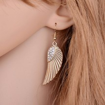 BAHYHAQ - Pending Rhinestone Alloy Wings Drop Earrings Female Brincos - $2.00