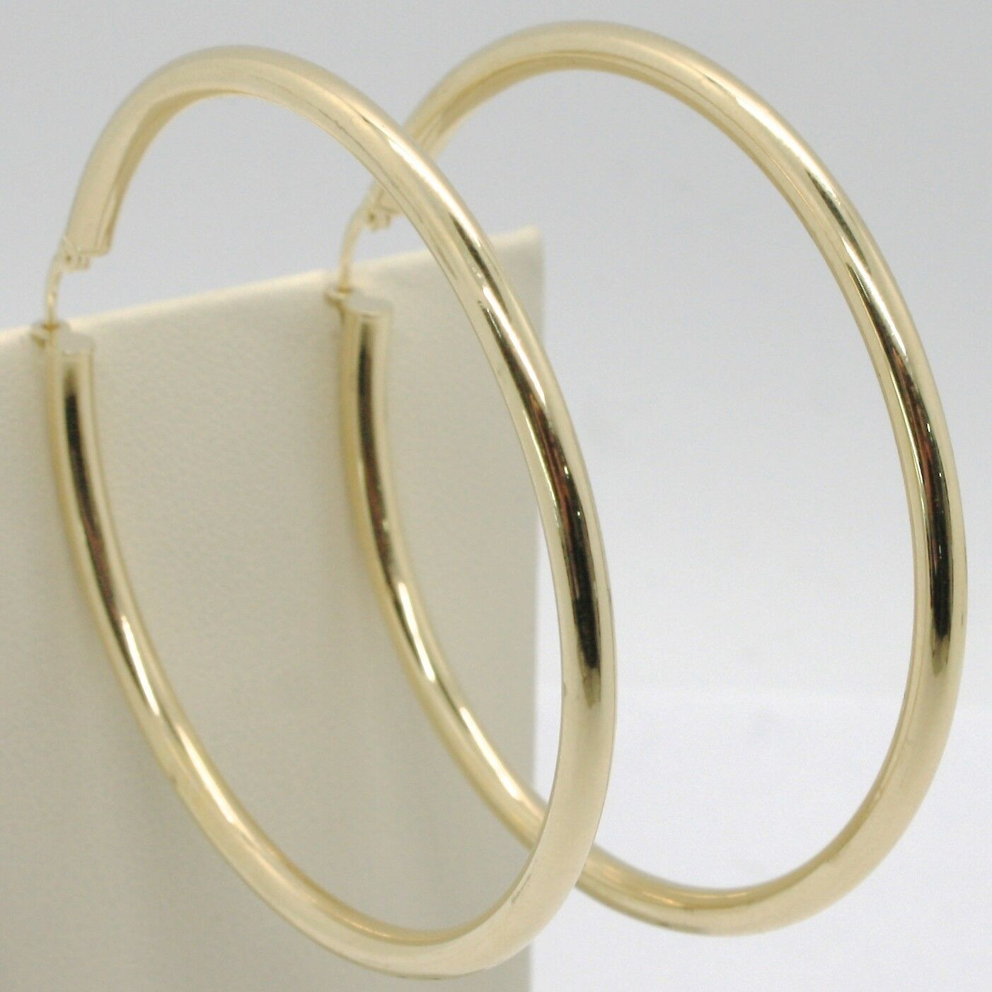 18K YELLOW GOLD ROUND CIRCLE EARRINGS DIAMETER 70 MM, WIDTH 3 MM, MADE IN ITALY