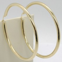 18K YELLOW GOLD ROUND CIRCLE EARRINGS DIAMETER 70 MM, WIDTH 3 MM, MADE IN ITALY image 1
