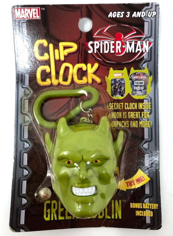 2003 Marvel Clip Clock Spider Man Green Goblin