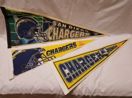 Lot of 3 Vintage SAN DIEGO CHARGERS Felt Banner Pennant Flag NFL Football - $23.71