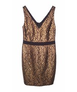 NEW Trina Turk 10 Cocktail Sheath Dress Brocade Lace Gold Evening Fitted - $31.49