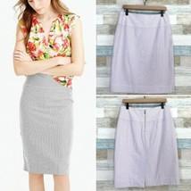 J Crew Seersucker Pencil Skirt Purple White Cotton Slit Lined Summer Wom... - $39.59