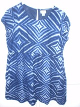 W13769 Womens OLD NAVY Blue Cotton/Viscose Empire DRESS Short Sleeve LARGE - $28.96