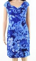 Lauren By Ralph Lauren Women's Blue Multi Floral Print Sheath Dress $109 - $29.70