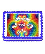Tie Dye Hippie Party Edible Cake topper decoration - personalized free - $8.86