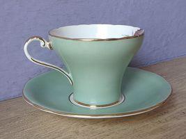 Vintage Aynsley Large pink yellow roses tea cup, Green Bone china teacup image 5