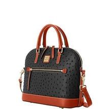Dooney & Bourke Ostrich Embossed Leather Domed Zip Satchel Bag