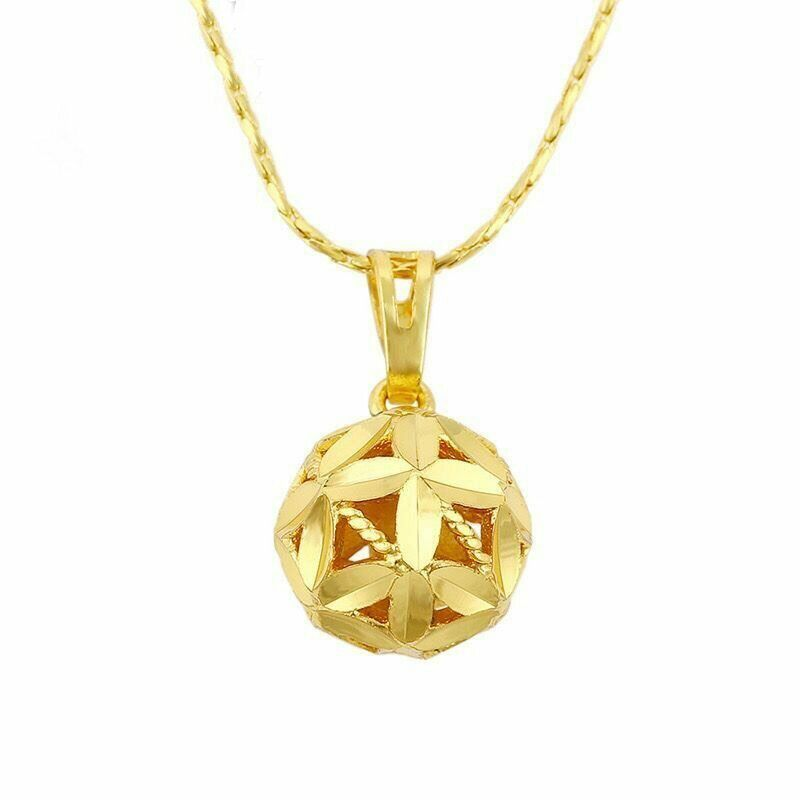 Primary image for Hollow Ball Pendant Necklace 14K Gold NEW