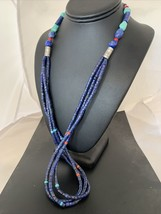 Native American Sterling Silver Navajo Lapis 3S Turquoise Coral Necklace... - $351.95