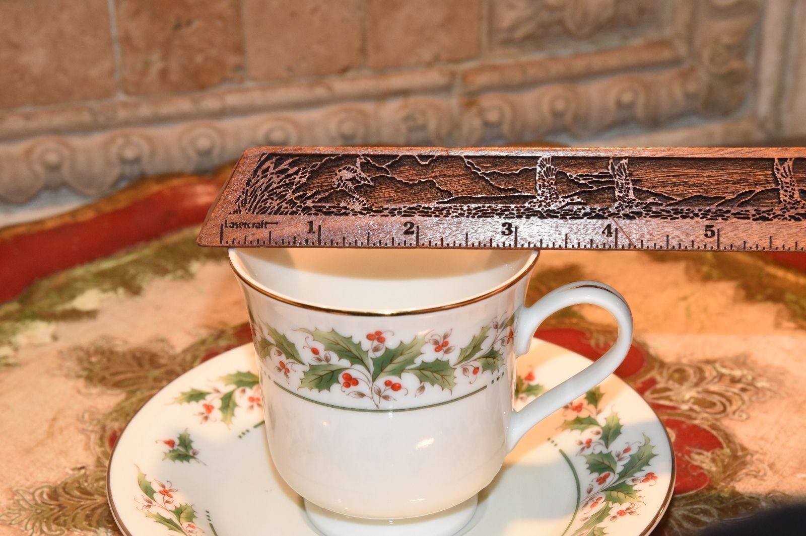 Royal Limited Holly Holiday Footed Cup and Saucer//s  Japan  Gold Backstamp