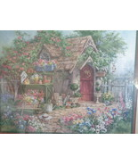 Homco Home Interiors Picture Barbara Mock Cottage Flowers Birdhouses - $89.99