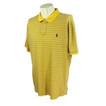 Polo Ralph Lauren Men's Interlock Short Sleeve Cotton Yellow Stripe Shirt XL - $18.79