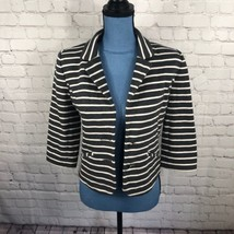 Express Women's Gray White Stripe Casual Blazer 3/4 Sleeves Size S - $15.44
