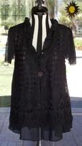 New Black Pretty Angel Macrame Overlay Ruffle Neckline Over Shirt Sz.  M... - $46.99