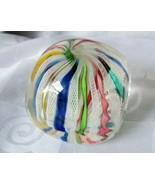 Murano Art Glass Paperweight Square Cube Latticino Twisted Ribbon Aventu... - $85.45