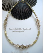 "SWAROVSKI GOLDEN SHADOW & SWAROVSKI PEARL GOLDFILLED ANKLET - SIZE 9 5/8""  - $11.00"